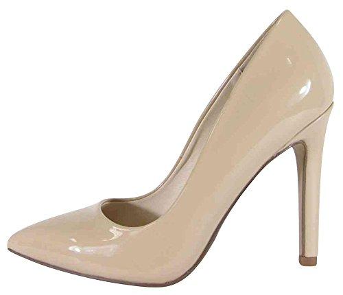 Cambridge Select Women's Classic Closed Pointed Toe Stiletto High Heel Pump (8 B(M) US, Dark Beige Patent)