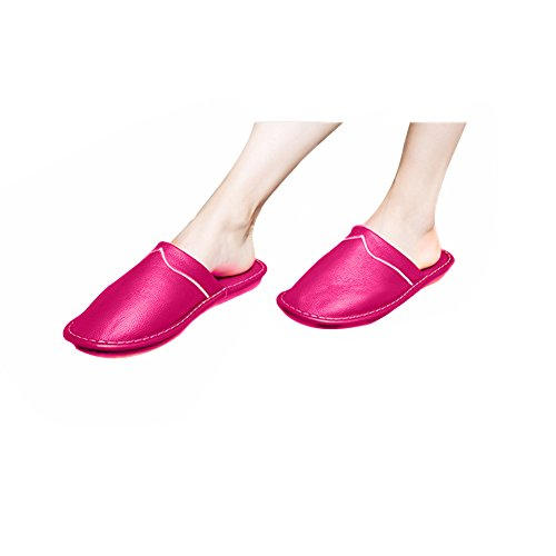 TELLW Spring Autumn Winter Leather Slippers Leisure Slipper Anti-Slip Soles Shoes Cowhide Slippers For Women Rose yUfXiM4tv6