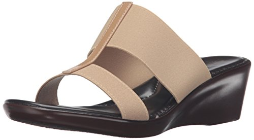 ITALIAN Shoemakers Women's 400m Wedge Sandal, Natural, 8 M US