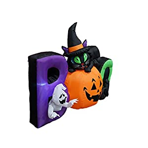 BZB Goods 6 Foot Long Lighted Halloween Inflatable Black Cat Ghost Pumpkin Boo LED Lights Decor Outdoor Indoor Holiday Decorations, Blow up Lighted Yard Decor Lawn Inflatables Home Family Outside