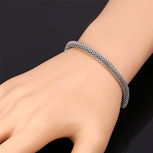 Men 5MM Stainless Steel Round Mesh Chain Link Bracelet , 8.3 Inches