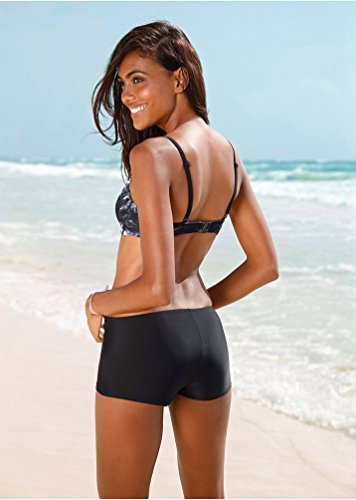 WanYang Mujeres Conjuntos de Bikini de Playa Bañador Ropa de Baño 2pcs Push-up Tops + Shorts Negro