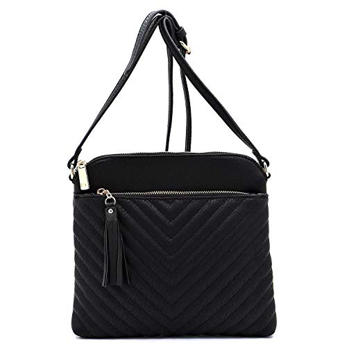 Vegan faux leather Chevron quilted Crossbody purse with Tassels (Black)