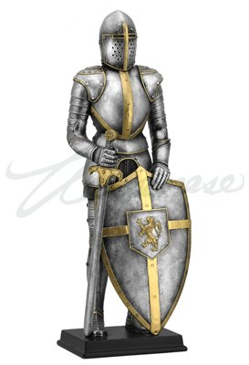 13 Inch Medieval Armor Figurine with Sword and Lion Crest on Shield ()
