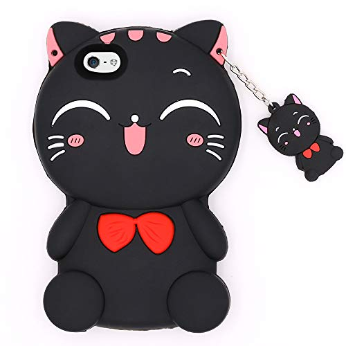 for iPhone 5 Case, iPhone 5S Case, iPhone SE Case, Cute 3D Cartoon Lucky Fortune Cat Kitty with Bow Tie Soft Silicone Rubber Shockproof Back Cover Case for iPhone 5 / 5S / 5C / SE (Black Cat) (Kitty Case Iphone 5)