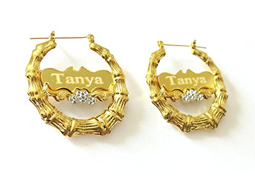 Tina&Co Personalized Name Earring Custom Round Bamboo Hoop Earrings with Yellow Gold Overlay For (Bamboo Yellow Earrings)