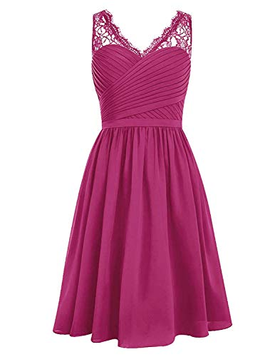 Victoria Prom V-Neck Lace Chiffon Bridesmaid Dress Short Prom Cocktail Homecoming Gown Fuchsia US10 ()