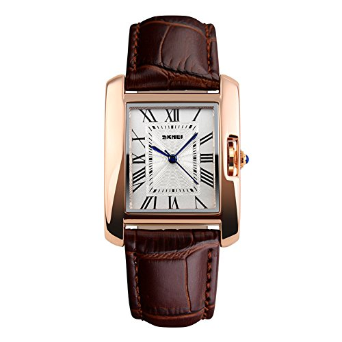 Women's Brown Roman Classic Synthetic Leather Strap Watch - 9