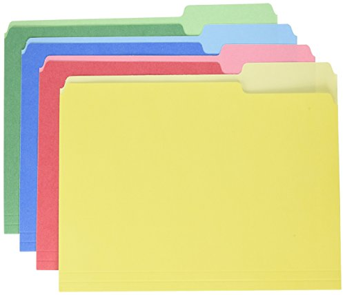 Pendaflex CutLess/WaterShed File Folders, Letter Size, Assorted Colors, 1/3 Cut, 100/BX -