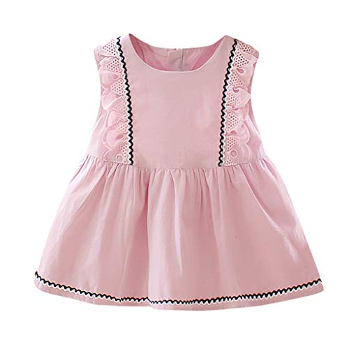 Baby Girls Dresses Floral Sleeveless Tops YESOT Lace Solid Print Sundresses Ruffles Princess Summer Clothes for Kids (Pink, 18-24 Months)