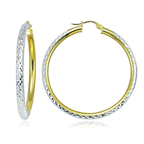 (Hoops & Loops Sterling Silver Two Tone 3mm Diamond Cut Round Hoop Earrings, 45mm)
