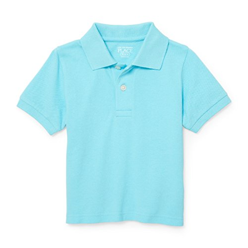 The Children's Place Baby Little Boys' Short Sleeve Solid Polo 1, Caribbean 87459, 3T
