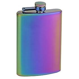 Top Shelf Flasks Rainbow Colored Unicorn Hip Flask, 8 oz