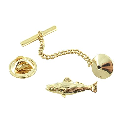(Creative Pewter Designs, Pewter Striped Bass Tie Tack, Gold Plated, SG050TT)