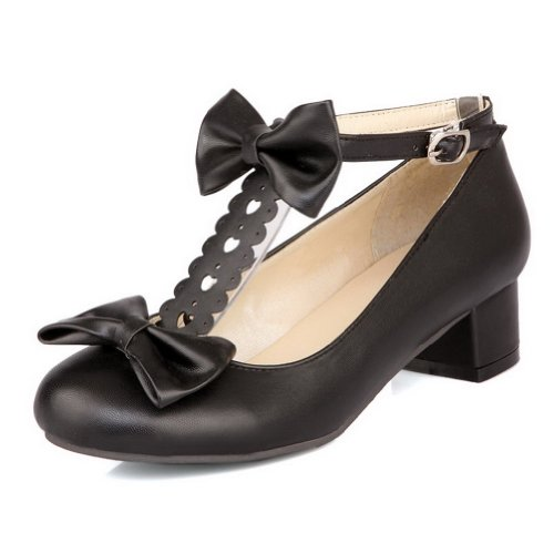 VogueZone009 Womens Closed Round Toe Low Heel Chunky PU Solid Pumps with Bowknot and T-strap, Black, 9.5 B(M) US