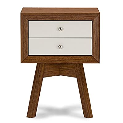 Baxton Studio Warwick 2 Drawer Nightstand - Walnut/White - Dimensions: 17.8W x 15D x 24H in. Engineered wood with veneered exterior Silvertone metal knobs - nightstands, bedroom-furniture, bedroom - 41c lRU1VHL. SS400  -