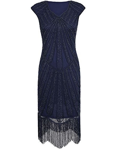 [Kayamiya Women's Retro 1920s Inspired Beaded Art Deco Fringe Lace Flapper Dress L Blue] (1920 Dress)