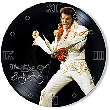 Elvis Presley Vinyl Record Clock Painted - Unique Wall Clock Elvis Presley The King of Rock 'n' roll - Best Gift for Music Lover - Original Wall Home Decor