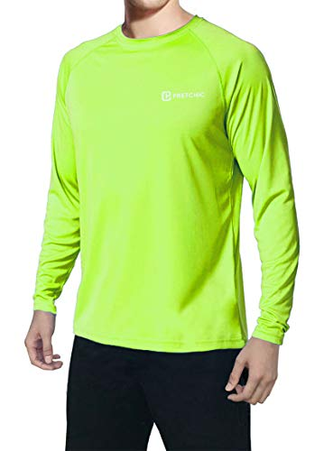 (Pretchic Men's UPF 50+ UV Sun Protection Performance Long Sleeve Outdoor T Shirt Fluorescent Green XX-Large)