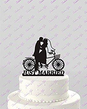 Bicycle For Two Wedding Just Married Bride And Groom Cake Topper