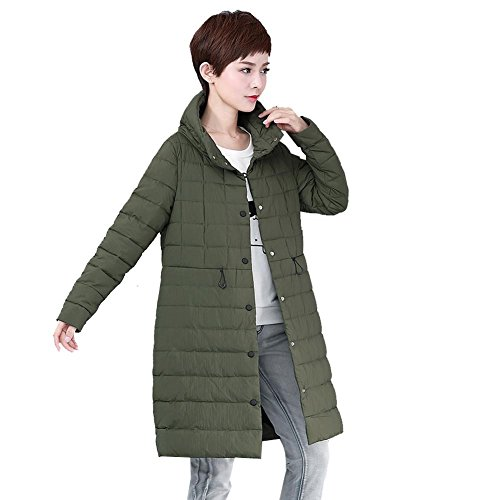 outwear thicker pocket lightweight down long button jacket women green army warm parkas windproof 4vHRSnq