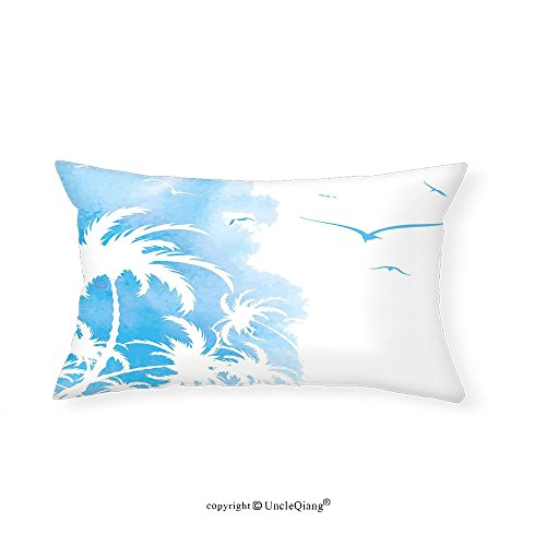 VROSELV Custom pillowcasesExotic Island Palm Trees Abstract Design with Birds Watercolor Background Artwork for Bedroom Living Room Dorm Sky Blue and White(12''x24'') by VROSELV