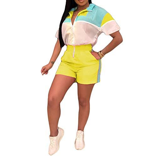 (JiherBeauty Womens Sexy Jumpsuit Color Block Short Sleeve V Neck Zipper Front Short Pants Tracksuit Yellow)