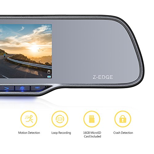 Z-EDGE Z2Pro Dual Dash Cam, 2K Ultra HD 2160P Front & 1080P Rear 5.0'' Ultra Clear IPS Rearview Mirror, Front and Rear Dash Cam, Backup Camera with 150 Degree Viewing Angle, WDR, 16GB card included by Z-EDGE (Image #1)