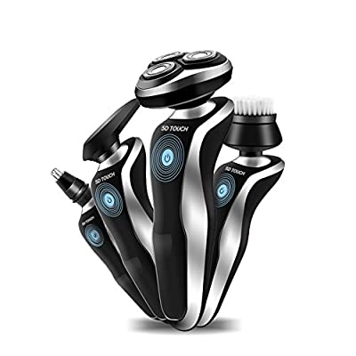 HaloVa Electric Razor, 3D Rotary Floating Blades, USB Rechargeable Men's Shaver, Shave Wet and Dry, Whole Body Washable 4 in 1 with Nose Trimmer, Sidebums Razor, Facial Brush