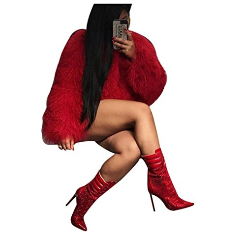 Red Overcoat (Limado Fall Winter Women Coat Ladies Loose All-match Fur Wool Overcoat Pure Color Cardigan (Red, S))