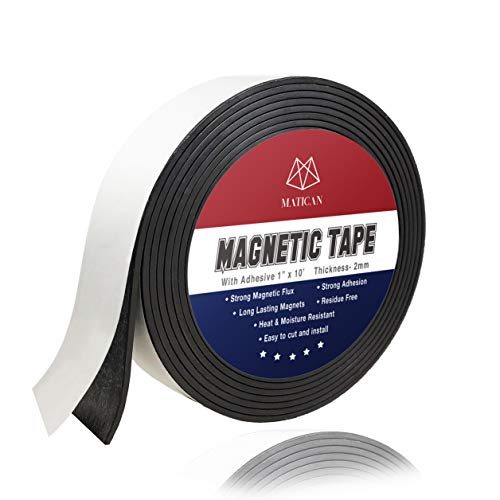 Flexible Magnetic Tape Roll - 1 Inch x 10 Feet Magnetic Strip with Strong Self Adhesive Backing, Stickable Magnet Tape for DIY Craft Projects