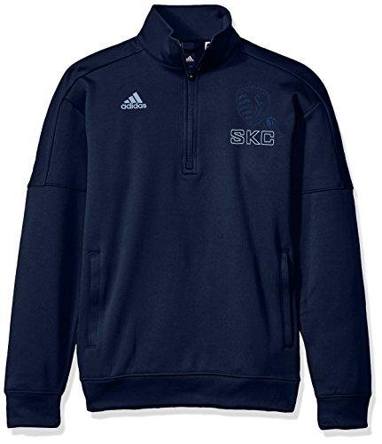 adidas MLS Sporting KC Adult Men Letterman Team Issued 1/4 Zip Pullover, Small, Collegiate Navy