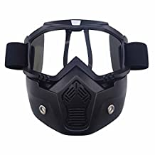 COGEEK Motocross Helmet Mask Detachable Goggles And Mouth Filter Perfect For Open Face Motorcycle Half Helmet (silver)