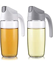 Nicunom 2 Pack Auto Flip Olive Oil Dispenser Bottle, 20 Oz Leak-Proof Condiment Glass Container with Automatic Cap and Stopper, Drip Free, Non-Slip Handle for Kitchen Cooking Salad, White & Grey