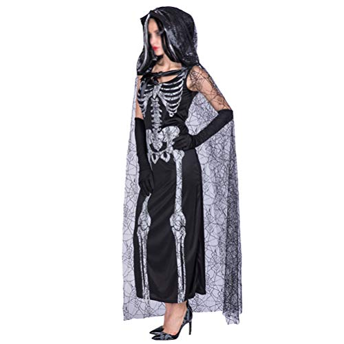 BESTOYARD Halloween Cosplay Costumes Clothes Set Skull Pattern Net Mesh Hooded Cape Cloaks Skeleton Ghost Bride Performance Suit (Black)