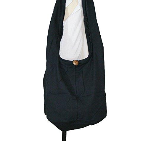 Hippie Hobo Sling Crossbody Cotton Bag Purse Thai Top Zip Handmade Color Black (Cotton Thai Craft)