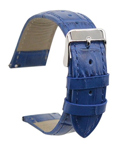 (ArtStyle Quick Release Leather Watch Band Cowhide Leather Replacement Watch Strap (22mm, Blue/Blue))