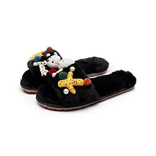 (T-JULY Women's Sea Star Pendant Fur Slippers Pompon Furry Slides Girls Cartoon Bear Flip Flops Pearl Beads Sandals Mule)