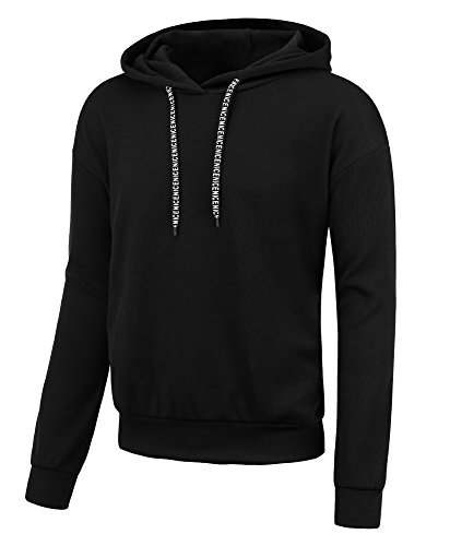 Hoodies For Men Solid Colors Pullover Hooded Sweatshirts (Large, Black) by Payeel (Image #1)