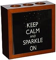 Rikki Knight Keep Calm and Sparkle On Black Color Design  Inch Tile Wooden Tile Pen Holder
