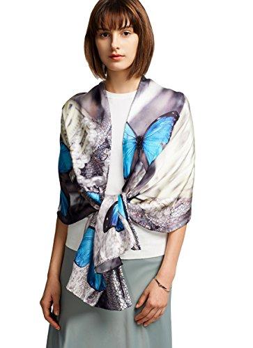 Elegant Lightweight Fashion 100 Silk Scarf Premium Shawl Wrap Art, Oblong