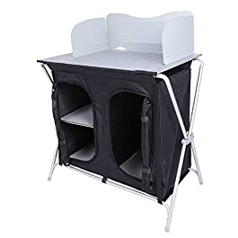 REDCAMP Aluminum Camping Table with Roll Up Table Top and Storage, Portable Folding Outdoor Grill Table for Picnic BBQ…