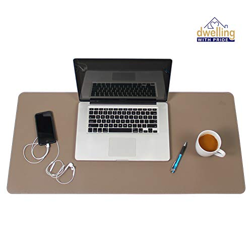 Writing Pad Accessory - Desk Mat Brown & Dark Brown 17x36 | Computer, Laptop, Keyboard & Mouse Pad Organizer | Leather Cover Office Table Protector | Double Side Gaming Surface with Colors | Typing & Writing Accessories