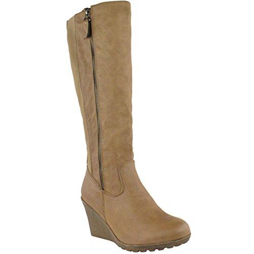 WOMENS LADIES WEDGE HEEL KNEE HIGH MID CALF WIDE LEG ELASTIC WINTER BIKER BOOTS Khaki Faux Leather