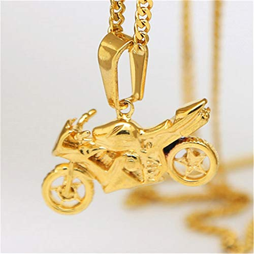 (Tino Carlo Stainless Steel High Polish Biker Charm Motorcycle Pendant Cuban Chain Necklace 24