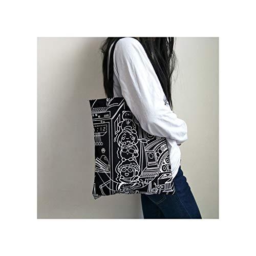 2019 Women Canvas Bags Shopping Eco Reusable Foldable Shoulder Bag Handbag Tote Bag Casual Bags School Travel Folding,2