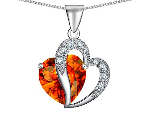 Star K Heart Shape 12mm Simulated Mexican Fire Opal Pendant Necklace Sterling Silver