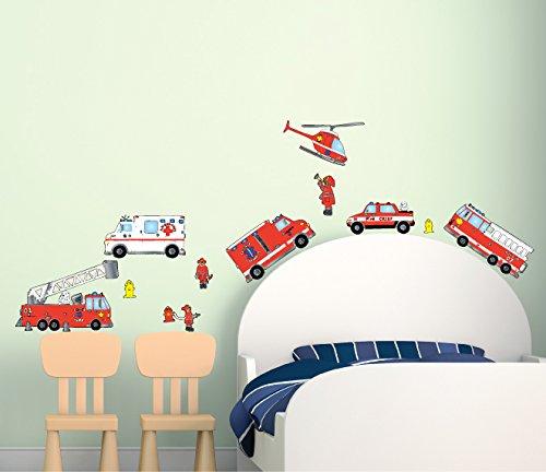 Fire Truck Firefighter Wall Sticker Decals/Fire Truck Wall Decor (Fire Truck Decal)