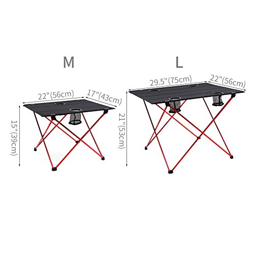 OUTRY Lightweight Folding Table with Cup Holders, Portable Camp Table (L – Unfolded: 29.5″ x 22″ x 21″), Outdoor Picnic Camping Backpacking Beach Patio Collapsible Foldable Light Weight Table