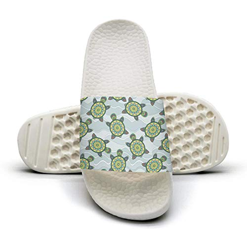 Sansalsk2 Young Women Casual Slipper Green Turtles in The Sea White Slip Resistance Open Toe Flat Interior Slippers -